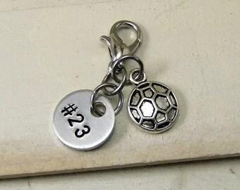 Soccer Zipper Charm, Soccer Zipper Pull, Sports Team Gift, Soccer Team Gift, Custom Soccer Team Gift