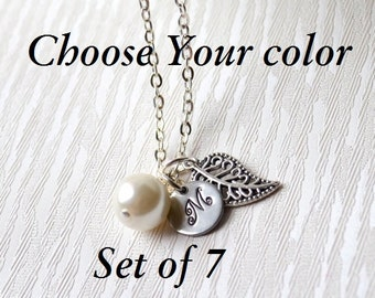 Personalized bridesmaid gifts Set of 7 seven bridesmaids jewelry Initials bridesmaids necklaces with leaves Hand stamped weddings girl gift