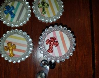 Bling cross retractable badge holder reel