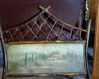 Antique Bamboo Picture & Frame