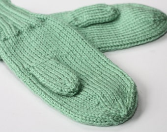 Knit Kids Mittens - Sage Green Mittens for Kids - Mittens - Knit Green Mittens for Children - Knit Mittens with Cord