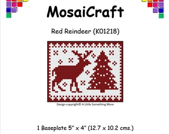 MosaiCraft Pixel Craft Mosaic Art Kit 'Red Reindeer' (Like Mini Mosaic and Paint by Numbers)