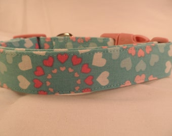 Dog Collar Pink Hearts on Blue