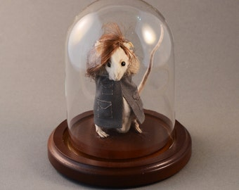 Anthropomorphic Taxidermy Mouse in Glass Dome