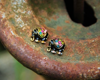 Multi-colored Gold and Black Elephant Stud Earrings!