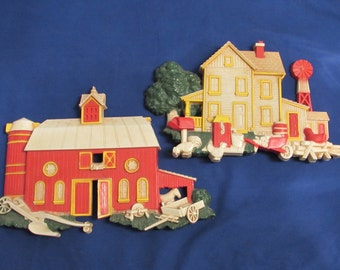Homco Farm House and Barn Plaques 7369 1975