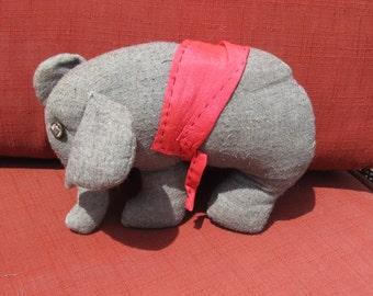 Stuffed toy elephant; 1940's toy; handmade;