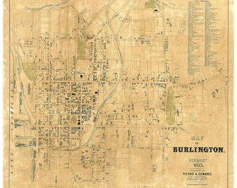 Burlington Vermont 1853 Detailed map with Homeowner Names - University of Vermont
