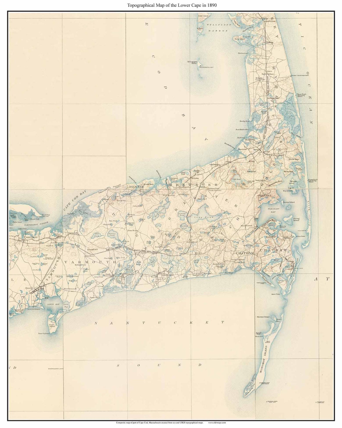 Eastham Cape Cod Map: Cape Cod Regions LOWER CAPE 1890 Old Topo Map Massachusetts