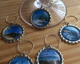 By the Seashore wine glass charms