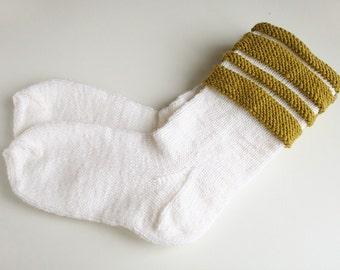White wool socks White socks Long socks Knitted socks Women socks Warm socks Stripped socks Socks white Socks wool Socks woman
