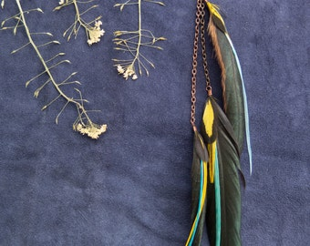 Blue/Yellow Single Feather Earring
