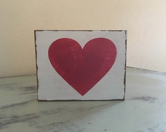 Distressed Red Heart Home Decor Love Gift for Her Gifts Under 10 Wood Sign Distressed Heart Decor Wedding Gift Anniversary Gift