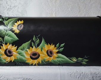Hand Painted Black Mailbox with Yellow Sunflowers