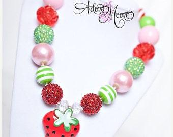 Spring Sale Strawberry Necklace, Chunky Necklace, Chunky Bead Necklace, M2M Matilda Jane spring 2014