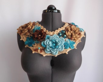 Crochet Warm Women Scarf Pastel  Blue and  Chocolate heaven