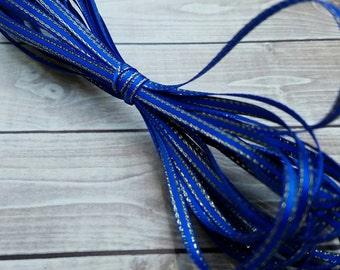 1/8 INCH ROYAL BLUE Gold-Edged Satin Twine Ribbon