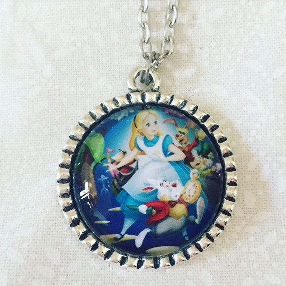 FREE Worldwide Shipping - Alice - antique silver - glass pendant