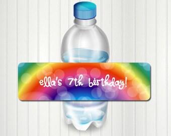 Rainbow Party Water Bottle Label, Rainbow Bottle Label, Rainbow Birthday, Water Bottle Label