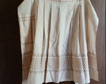 Vintage Tan and White Gingham Cross-Stitched Half Apron