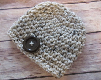 Ready to Ship Crochet Knit Hat Tan Tweed,Button option,Preemie, Newborn to 3 mo, Photo Prop, shower gift, baby's 1st hat, bringing home baby