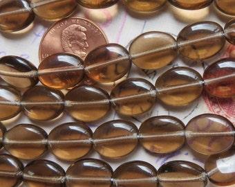 Smoke Topaz Oval Beads, 25 Beads - Item 3536