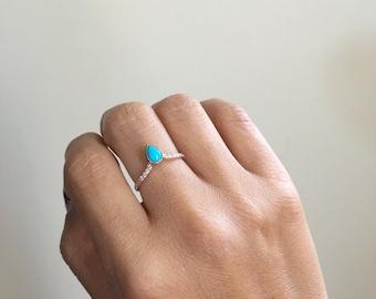 Turquoise Pave Peak Ring, Gold Diamond Turquoise ring, Turquoise stacking ring, Diamond stacking band, Wedding band, wedding ring