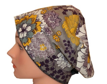 Scrub Hat Surgical Scrub Cap Chemo Hat Tie Flirty Front Fold European Pixie Style Grey Yellow Purple Floral Dots 2nd Item Ships FREE