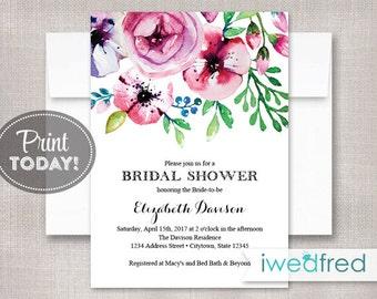 Bridal Shower Invitation, Floral Bridal Shower Invitation, Printable PDF, DIY Instant Download #BR110