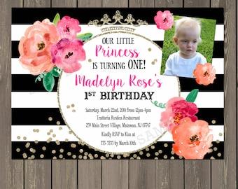 Princess Birthday Invitation, Black & White Stripe Floral 1st Birthday Party Invitation, Gold Glitter Watercolor Photo Invitation