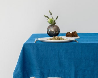 Blue Stone Washed Linen Tablecloth