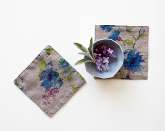 Set of 4 Natural Summer Flowers Stone Washed Linen Coasters
