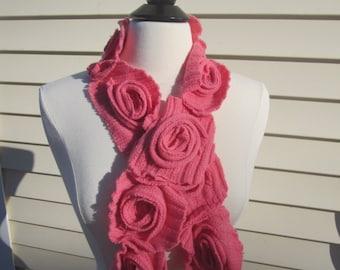 Pink Rosette Ruffle Scarf