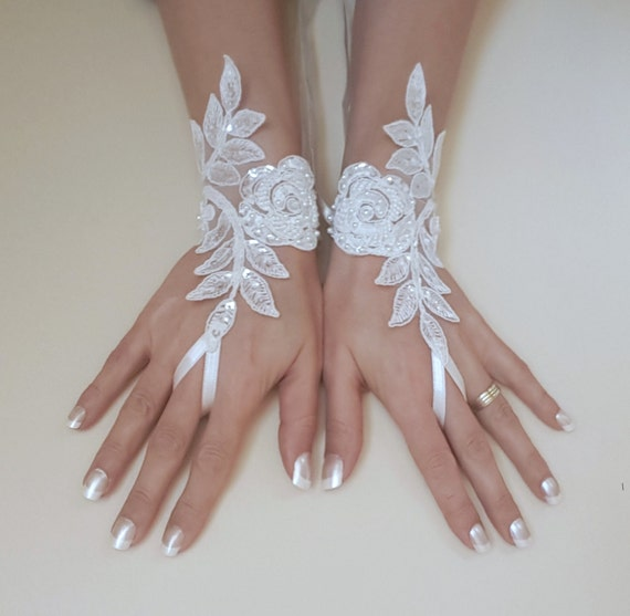 Beaded bridal glove wrist cuff flower rose wedding trend lace gauntlet guantes bridal accessories ivory or white or ivory silver frame