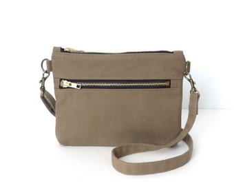 Cross Body Bag Double Zipper Tan Canvas Purse Small SALE