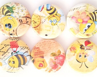 Bee Magnets, Cute Bumblebee Magnets, Refrigerator Magnet, Fridge Magnets, Children's Magnets, Humorous Magnets, Funny Bees Magnets, Set of 6