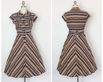 60s Fall Chevron Stripe Dress / 1960s Vintage Cotton Day Dress / Medium / Size 6 to 8