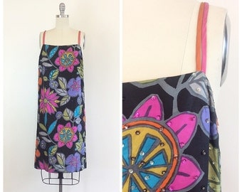 60s Empire House Silke Multi Color Floral Dress / 1960s Vintage Sequin Novelty Print Shift Party Dress / Small / Size 4