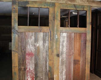Mission Style Pine Barn Door Room Dividers Multi Colored Made to Order from Reclaimed Pine **FREE SHIPPING**