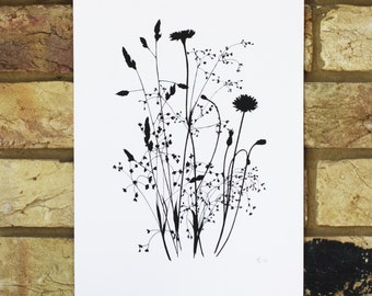 Wild grasses print - limited edition screen print - black ink illustration of wild grasses and flowers