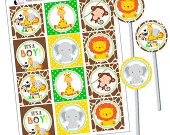 Baby Safari Party Squares, Baby Safari Cupcake Toppers, Instant Download - Digital File