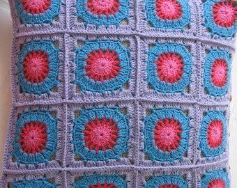 Crochet Cushion Cover Pillow. Granny Square. Cotton Pillowcase. Home Decor. Ready to Ship.