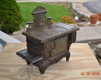 Vintage Cast Iron Salesman Sample ACME Toy Stove Large Antique Ornate Childrens Cast Iron  Toy Cook Stove Gorgeous Wood Coal Parlor Stove