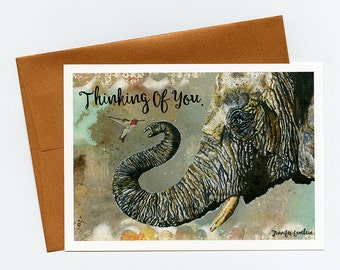 Greeting Card. Thinking Of You Elephant Cyril And Hummingbird Ayre.