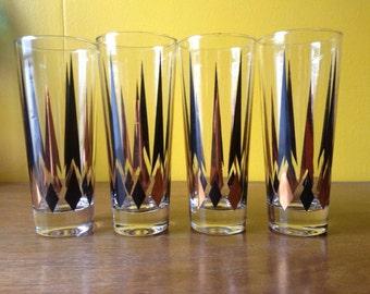 Vintage Diamond Glasses Black and Gold set of Four MCM