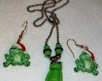 Frog Necklace with earrings