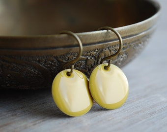 Mustard yellow enamel earrings // hostess gift // jewelry // elegant // for her // holidays