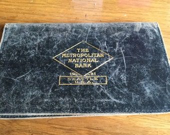 Antique 1921 Leather Bank Bill Fold Walllet, Metropolitan National Bank