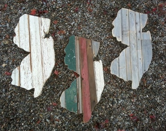 Reclaimed wood state wall art