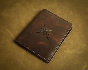 Genuine Leather Passport Holder personal customization HandcraftedWallet Short Purse Slim Credit Card Wallets Special gift L2104-RBr01